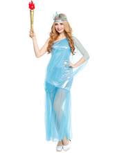 Anime Costumes AF-S2-595539 Halloween Statue of Liberty Dress Blue One-Shoulder Women's American Costume