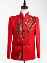Anime Costumes AF-S2-595577 Men's Retro Costume Red Rococo Overcoat Flowers Court Uniform Cloth Costume
