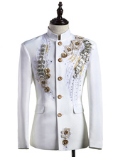 Anime Costumes AF-S2-595581 Men's Retro Costume White Rococo Overcoat Flowers Court Uniform Cloth Costume