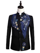 Anime Costumes AF-S2-595579 Men's Retro Costume Black Rococo Overcoat Flowers Court Uniform Cloth Costume