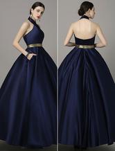 Cabeçada correias vestido bola vestido da Marinha Sash Backless vestido de baile cetim Milanoo