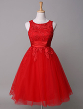 Red Prom Dress Lace Applique Tulle A-Line Mini Homecoming Dress