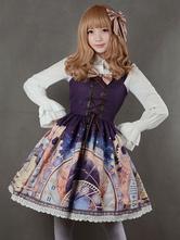 Lolitashow Lila Lolita Kleid Riemen Print Chiffon-Kleid