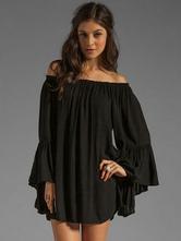 Tunika kleid Schwarz Kleider Langarm Chiffon mit Carmenausschnitt Damenmode und Falten für Sommer