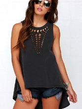 Black High-Low Camis Cut Out Asymmetric Top for Women