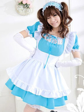 Anime Costumes AF-S2-596765 Halloween Blue French Maid Costume Bow Polyester Dress For Women
