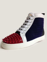 Mens Navy Leather High Top Sneakers with Rivets