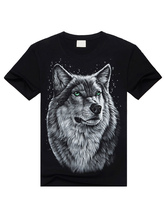Black Wolf Print T-Shirt Chic Short Sleeves Cotton T-Shirt for Men