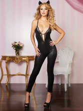 Anime Costumes AF-S2-598583 Halloween Black Club Dancing Catsuit Straps Low Cut PU Sexy Jumpsuit for Women