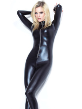 Anime Costumes AF-S2-598601 Halloween Black Club Dancing Catsuit PU Slim Fit Jumpsuit for Women