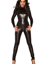 Anime Costumes AF-S2-598509 Halloween Black Backless Catsuit PU Jumpsuit for Women