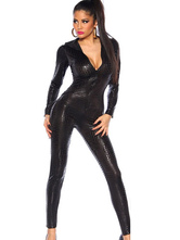 Anime Costumes AF-S2-598513 Halloween Black Low Cut Catsuit PU Jumpsuit for Women