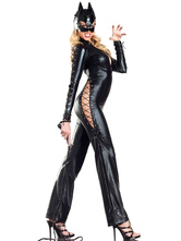 Anime Costumes AF-S2-598543 Halloween Black Cut Out Catsuit Sexy Catwoman Jumpsuit for Women
