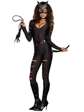 Anime Costumes AF-S2-598563 Halloween Black Club Dancing Catsuit PU Cut Out Deep-V Sexy Jumpsuit for Women