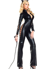 Anime Costumes AF-S2-598545 Halloween Black Cut Out Catsuit Sexy Catwoman Jumpsuit for Women