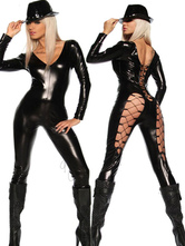 Anime Costumes AF-S2-598511 Halloween Black Backless Net Cut Out Catsuit PU Jumpsuit for Women