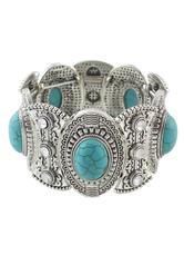 Bracelete de Metal em relevo prata pulseira boêmio para mulheres