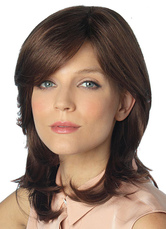 Anime Costumes AF-S2-598909 Brown Bangs Wig 55CM Curly Medium Synthetic Wig for Women