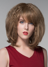 Anime Costumes AF-S2-599195 Brown Curly Human Hair Wig Bangs Chic Medium Wig for Women