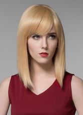Anime Costumes AF-S2-599177 Light Gold Human Hair Wig Bangs Straight Medium Wig for Women