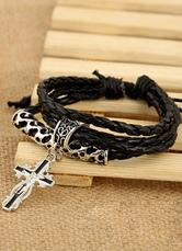 Multicolor Cross Bracelet Metal Faux Leather Bracelet for Men
