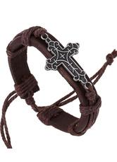Brown Cross Bracelet Faux Leather Bracelet for Men