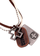 Multicolor Layered Necklace Metal Faux Leather Necklace for Men