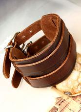 Brown Buckle Bracelet Faux Leather Bracelet for Men
