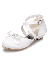 White Flower Girl Sandals Bow Cross Straps Satin Shoes for Girls