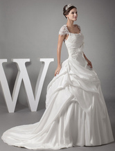 Ball Gown Off-The-Shoulder Beading Lace Applique Taffeta Pleated Chaple Train Bridal Dress
