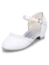 White Flower Girl Shoes Lace Straps PU Shoes for Girls