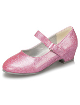 Pink Flower Girl Shoes Straps PU Shoes for Girls