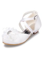 White Flower Girl Sandals Flowers Satin Shoes for Girls