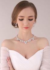 Silver Women Jewelry Rhinsestone Triangle Sterling Evening Jewelry Sets