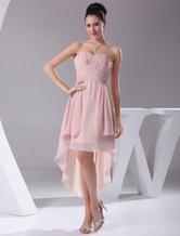 Blush rosa abito da damigella abito Sweatheart Criss-Cross Chiffon plissettato abito da festa
