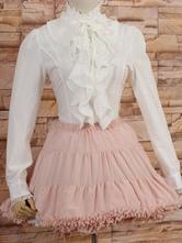 Lolitashow White High Collar Lolita Blouse Long Sleeves with Ruffles