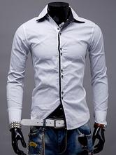 Camisa blanca de cuello alto de manga larga de algodón de manga larga para hombres camisa casual