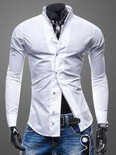 Long Sleeve Shirt Turndown Collar Front Button Cotton White Men Casual Shirt