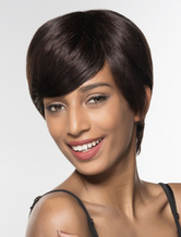 Anime Costumes AF-S2-602359 Euro-Style Brown Human Hair Wig Chic Bangs Short Wig for Women