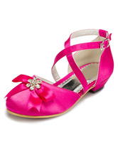 Fuchsia Flower Girl Shoes Bow Cross Straps Satin Shoes