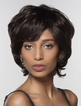 Anime Costumes AF-S2-602353 Black 4 Inches Human Hair Wig Bangs Short Wig for Women