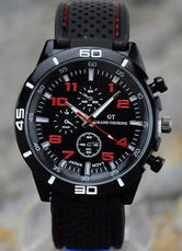 Black Rubber Watchband Trendy Men's Watch