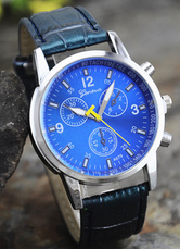 Blue Round Shape Dial Plate Metal Watch for Men