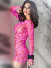 Rose Red Fishnet Cut Out Babydoll Spandex Chemise