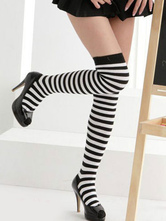 Anime Costumes AF-S2-603527 Halloween Black Stockings Stripes Print Over-The-Knee Cosplay Stockings