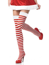 Anime Costumes AF-S2-603531 Halloween Stripes Print Stockings Red Over-The-Knee Cosplay Stockings