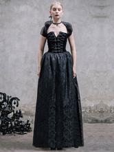Anime Costumes AF-S2-603775 Black Retro Costume Gothic Short Sleeve Backless Maxi Dress