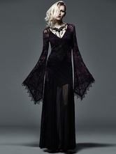 Anime Costumes AF-S2-603761 Women's Retro Costume Dark Gothic Lace Embroidered Trumpet Sleeve Maxi Dress