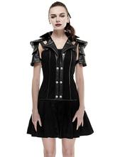 Anime Costumes AF-S2-603765 Black Retro Costume Detachable Collar Short Sleeve Industrial Revolution Vintage Dress