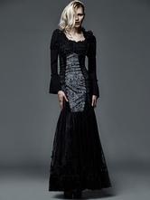 Anime Costumes AF-S2-603783 Halloween Retro Costume Black Lolita Gothic Dress Slim Fit Maxi Dress